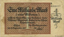 1 Milliard Mark ALLEMAGNE Essen 1923  TB