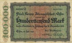 100000 Mark ALLEMAGNE Essen 1923  TTB