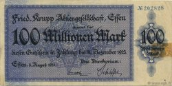 100 Millions Mark ALLEMAGNE Essen 1923  TTB