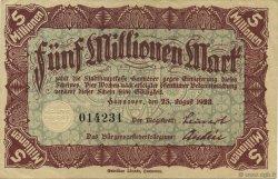 5 Millions Mark ALLEMAGNE Hannovre 1923  TTB+