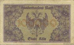 100000 Mark ALLEMAGNE Köln 1923  TB+