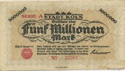 5 Millions Mark ALLEMAGNE Köln 1923  TTB