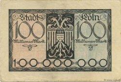 100 Millions Mark ALLEMAGNE Köln 1923  TTB