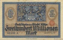 200 Millions Mark ALLEMAGNE Köln 1923  TTB