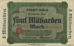 5 Milliards Mark ALLEMAGNE Köln 1923  TTB