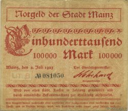 100000 Mark ALLEMAGNE Mainz-Mayence 1923  TTB