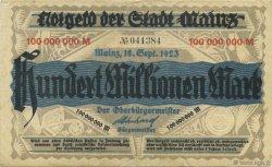100 Millions Mark ALLEMAGNE Mainz-Mayence 1923  TTB