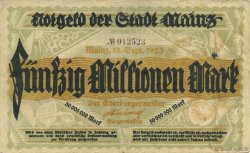 50 Millions Mark GERMANY Mainz-Mayence 1923  VF