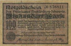 100 Mark ALLEMAGNE Mecklenburg-Schwerin 1922  TTB