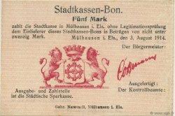 5 Mark ALLEMAGNE Mulhouse 1914  pr.NEUF