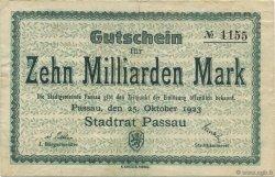 10 Milliards Mark ALLEMAGNE Passau 1923  TTB