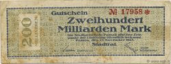 200 Milliards Mark ALLEMAGNE  1923  TB