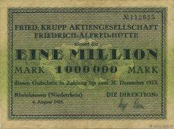 1 Million Mark ALLEMAGNE Rheinhausen 1923  TTB