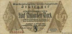 5 Milliards Mark ALLEMAGNE Stuttgart 1923  TTB