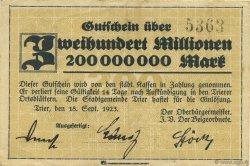 200 Millions Mark ALLEMAGNE  1923  TTB+