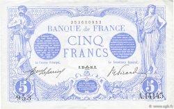 5 Francs BLEU FRANCE  1916 F.02.43 pr.SPL