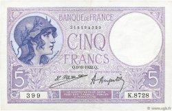 5 Francs VIOLET FRANCE  1922 F.03.06 pr.SUP