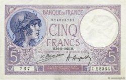 5 Francs VIOLET FRANCE  1925 F.03.09 pr.SUP
