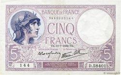5 Francs VIOLET modifié FRANCE  1939 F.04.01 SUP