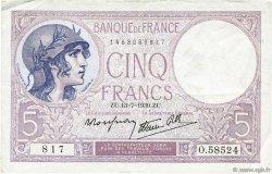5 Francs VIOLET modifié FRANCE  1939 F.04.01 TTB+