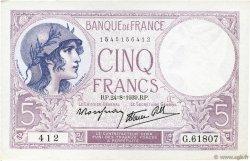 5 Francs VIOLET modifié FRANCE  1939 F.04.07 SPL