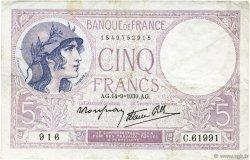 5 Francs VIOLET modifié FRANCE  1939 F.04.08 TTB
