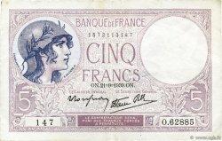 5 Francs VIOLET modifié FRANCE  1939 F.04.09 SUP