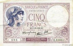 5 Francs VIOLET modifié FRANCE  1939 F.04.11 TTB