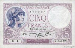 5 Francs VIOLET modifié FRANCE  1939 F.04.12 SUP