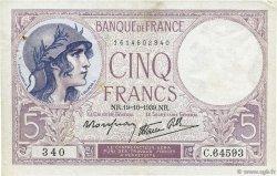 5 Francs VIOLET modifié FRANCE  1939 F.04.12 pr.SUP