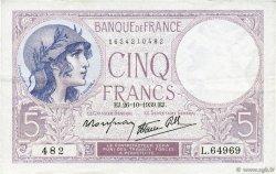 5 Francs VIOLET modifié FRANCE  1939 F.04.13 SUP