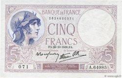 5 Francs VIOLET modifié FRANCE  1939 F.04.13 SUP+