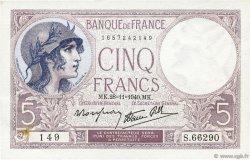 5 Francs VIOLET modifié FRANCE  1940 F.04.15 SUP