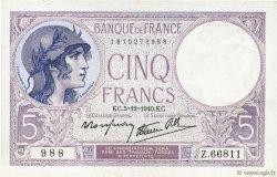 5 Francs VIOLET modifié FRANCE  1940 F.04.16 SPL+