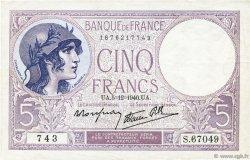 5 Francs VIOLET modifié FRANCE  1940 F.04.16 SUP