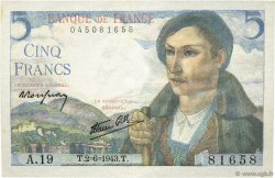5 Francs BERGER FRANCE  1943 F.05.01 pr.SPL