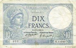 10 Francs MINERVE FRANCE  1923 F.06.07 TTB