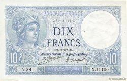 10 Francs MINERVE FRANCE  1923 F.06.07 SUP