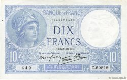 10 Francs MINERVE modifié FRANCE  1939 F.07.03 pr.SUP