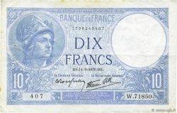 10 Francs MINERVE modifié FRANCE  1939 F.07.07 TTB+
