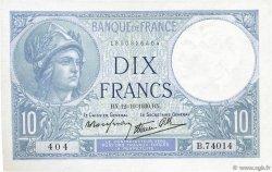 10 Francs MINERVE modifié FRANCE  1939 F.07.11 SPL
