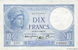 10 Francs MINERVE modifié FRANCE  1940 F.07.22 SUP+