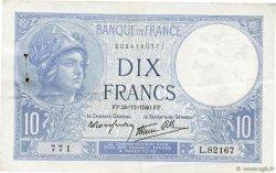 10 Francs MINERVE modifié FRANCE  1940 F.07.25 TTB+