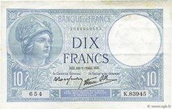 10 Francs MINERVE modifié FRANCE  1941 F.07.28 SUP