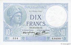 10 Francs MINERVE modifié FRANCE  1941 F.07.29 SPL
