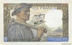 10 Francs MINEUR FRANCE  1942 F.08.05 SUP
