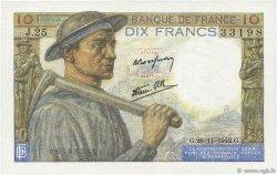 10 Francs MINEUR FRANCE  1942 F.08.06 SPL