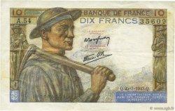 10 Francs MINEUR FRANCE  1943 F.08.08 TTB+