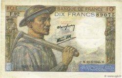 10 Francs MINEUR FRANCE  1944 F.08.12 TTB+