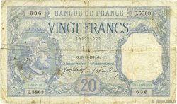20 Francs BAYARD FRANCE  1918 F.11.03 B+